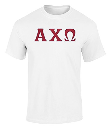 Fashion Greek Alpha Chi Omega Twill Letter T Shirt White Extra Large