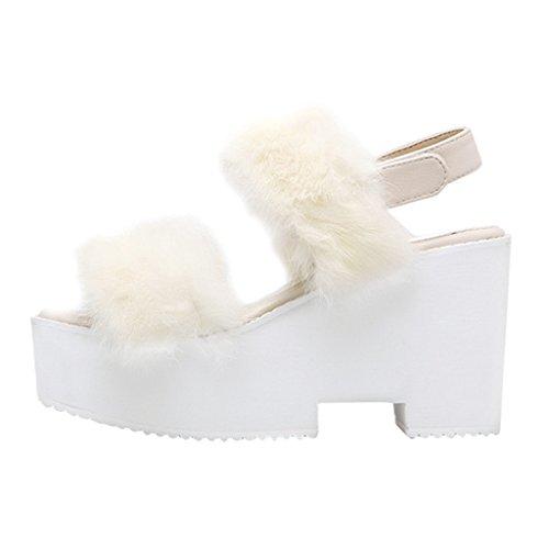 Estimado Time Block Heel Fur Cuñas Plataforma Tobillera Correa Mujer Gladiador Sandalias Blanco