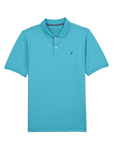 Nautica Boys' Big Short Sleeve Solid Performance Polo Shirt, Ocean Casper Blue, Medium (10/12)