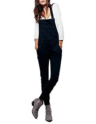 Richlulu Womens Leisure Back X Cross Tooling Bib Pockets Overall Pants