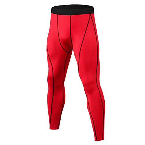 iYYVV Mens Sports Training Bodybuilding Summer Long Workout Fitness Long Pants Red