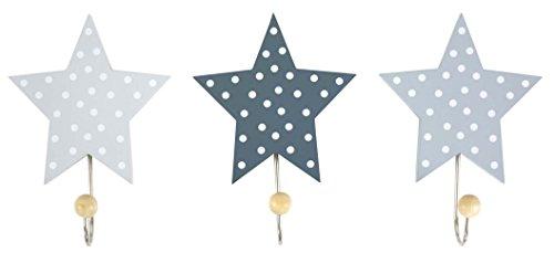 Jabadabado Kinder Garderobe Kleiderhaken Sterne Set 3 Stück (grau)