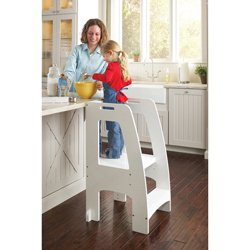 Step Up Kitchen Helper - Espresso: Adjustable Height Counter Step Stool with Side Support and Safety Handles for Kids