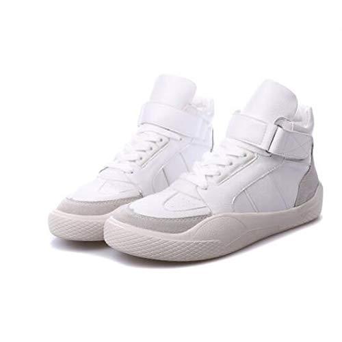 ZHZNVX Zapatos de Mujer Nappa Leather Spring/Summer Comfort Sneakers Flat Heel Cerrado con Punta Blanca/Negra / roja White