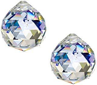 KARSLORA Clear Large Glass Crystal Ball Prism Rainbow Maker Feng Shui Lamp Hanging Drop Chandelier Pendants Window Suncatchers 50mm Pack of 2