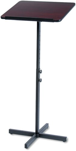 Height Stand Safco Adjustable - Safco Products 8921MH Adjustable Speaker Lectern Stand, Mahogany