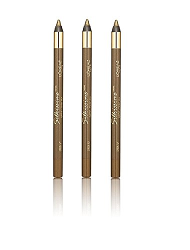L'Oreal Infallible Never Fail Silky Pencil Eyeliner, Silkissime #720 Green Ivy (3 Pack) + FREE Assorted Purse Kit/Cosmetic Bag Bonus Gift