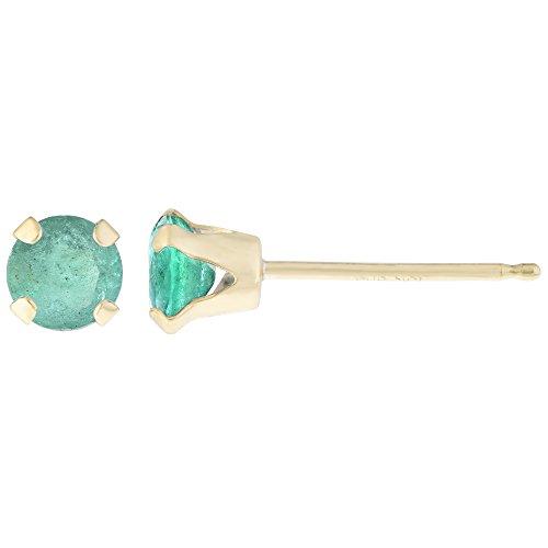.54 CT Round 4MM Green Emerald 14K Yellow Gold Stud Birthstone Earrings