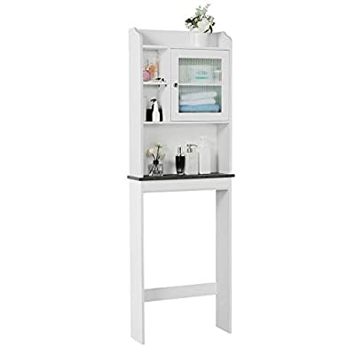 "Topeakmart Bathroom Space Saver Cabinet 68.9"" H Over Toilet Storage Multiple Shelves 1 Door Faux Marble Shelf, White"