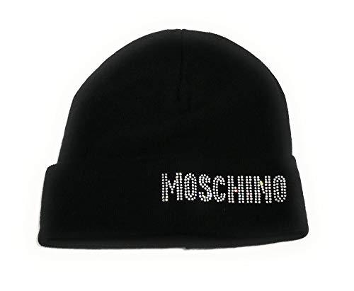 De Logo nbsp; Mujer Color Moschino Beanie Gorro Con C19mo07 Strass Negro n640RY