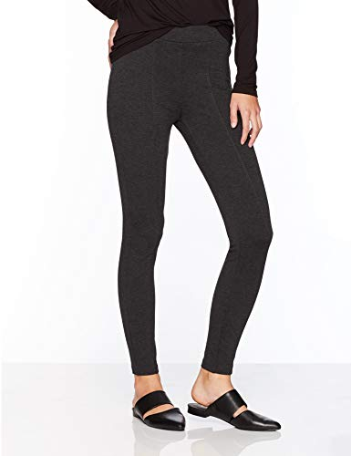 Daily Ritual Women's Seamed Front 2-Pocket Ponte Knit Legging, Charcoal, Large Regular