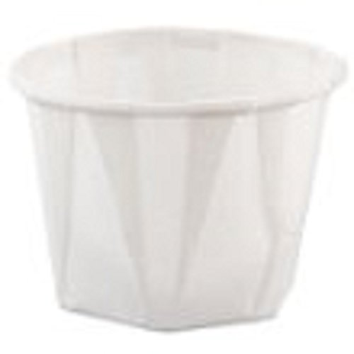SOLO Cup Company Treated Paper Soufflé Portion Cups, 1 oz., White, 250/Bag - 20 sleeves of 250 cups. 5000 per case.