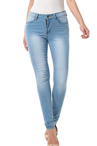 Skinny Jeans para Mujeres Alta Cintura Básica Denim Pantalones Slim Fit Azul