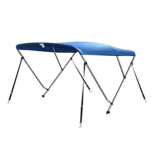 Seamander 3 Bow Bimini Top Boat Cover 4 Straps for Front and Rear Includes with Mounting Hardware (3 Bow 6'L x 85