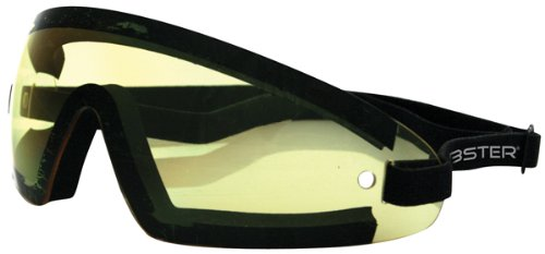 Bobster Wrap Around Sunglasses, Black Frame/Yellow - Motorsport Sunglasses