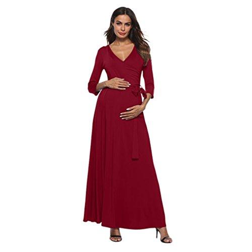 Casual Enceintes Mode Robe Robes Manches Jupes Couleur Nouveau Vin Col D'été Grossesse Longue Élégant Maternité Pure Chic Sept V Du Femmes Adeshop De OnAZHZT