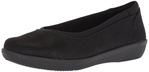 CLARKS Women's Ayla Low Ballet Flat, Black Synthetic Nubuck, 120 M US (Womens Size 12 Clarks Shoes)
