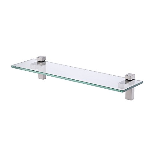 KES Tempered Glass Shelf, Bathroom Shelf with 19.6 Inch Rectangular Glass (8mm Thick) Wall Mount, Brushed Nickel, BGS3201-2