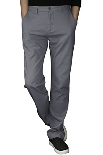 Trensom Men's Casual Plain Front Straight Khaki Pants Comfort Relaxed Fit Work Dungaree Grey Size 36 (Pants Plain Week Front)