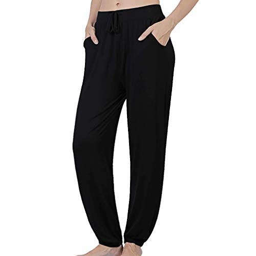 JOFOW Wide Leg Pants for Women Solid Loose Soft Comfy Swing Drawstring Pajamas High Waist Casual Elegant Long Yoga Trousers (2XL,Black)