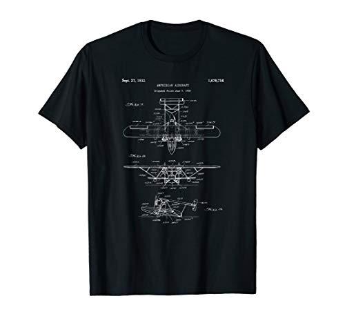 Seaplane Blueprint Shirt - Amphibian Sea Plane Airplane Tee
