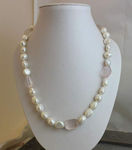Cultured Freshwater Nugget Pearl and Rose Quartz Necklace 20 inches
