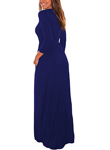 Blue Dress Womens Loose Casual with 4 Pockets Plain 3 Sleeve Maxi Dearlovers AnSwqUTxw