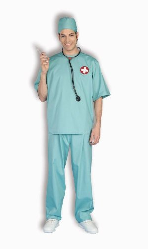 Doctor Scrubs Halloween Costume (Surgical Scrubs Costume - Standard - Chest Size up to 42)