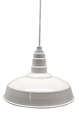200 Watt White Powder Coated Standard Warehouse Pendant - Steel Fixture with Heavy Duty Porcelain Socket - Made in America (Coated Powder Pendant)