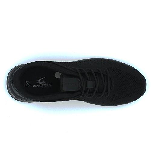 Geers Mens Running Espadrilles Tennis Athlétique Sport Gym Chaussures 3d Flyknit Supérieur Respirant Léger Tout Noir