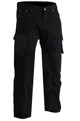 German Wear Motorradjeans Motorradhose, Futter aus Kevlar® stoff Cargohose mit Protektoren, 34W / 32L, Farbe:Schwarz