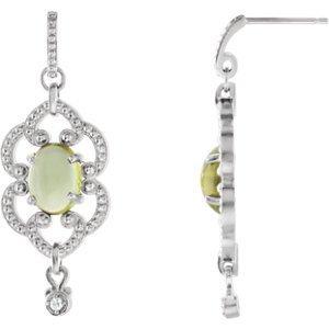 Argent 925/1000Peridot et Diamant 0,03carat or Boucles d'oreilles