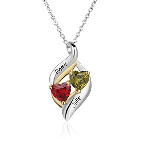 04603f3c3b Lam Hub Fong Personalized Necklaces for Women with 2 Heart Simulate  Birthstone 2 Names Pendant Couples