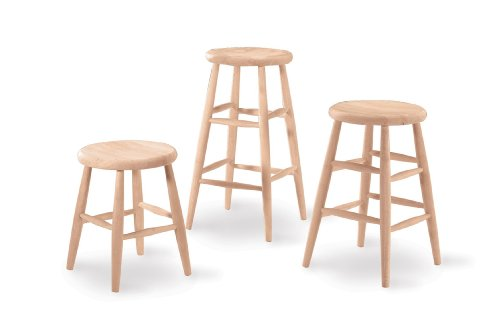 International Concepts 1S-824 24-Inch Scooped Seat Stool, Unfinished ()