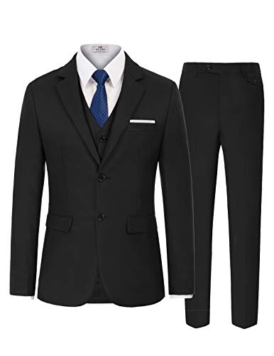Men's Slim Fit 3 Piece Suit Single Breasted Blazer Vest & Trousers Size S Black ()