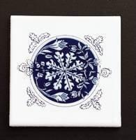 Kohler K-4200-RC-0 Provincial Decorative Field Tile, Cobalt Blue Medallion In White ()