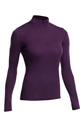 Icebreaker Everyday - Camiseta de compresión de manga larga para mujer (térmica, media cremallera) Morado