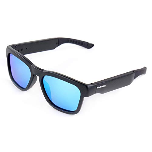 Inventiv Wireless Bluetooth Sunglasses, Open Ear Music & Hands-Free Calling, for Men & Women, Polarized Lenses, Compatible with iPhone/Android (Black/Blue Tint)