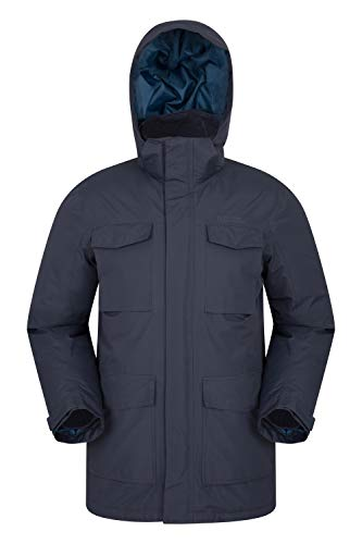 Mountain Warehouse Concord Extreme Mens Down Winter Long Jacket Blue Small ()