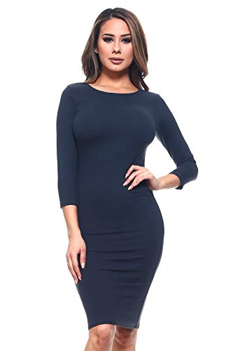 ICONOFLASH Women's Navy 3/4 Sleeve Bodycon Midi Dress - Crew Neck Fitted Dress Size Small (Marine Maternity Shirts)