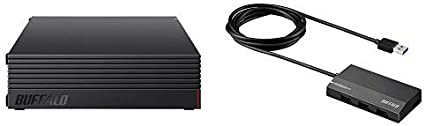 【セット買い】BUFFALO 外付けハードディスク 3TB テレビ録画/PC/PS4対応 静音&コンパクト 日本製 故障予測 みまもり合図 HD-AD3U3 &  USB3.0 セルフパワー 4ポートハブ ブラック スタンダードモデル BSH4A125U3BK