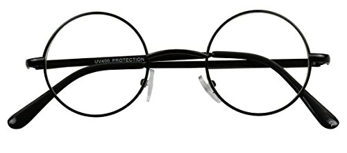 Basik Eyewear - Lennon Small Round Metal Circle Frame Clear Lens Eye Glasses (Black, - Fake Readers