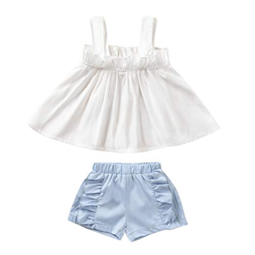 Kids Toddler Baby Girls Shorts Outfits Set White Ruffle Dress Shirt Tops+Short Pants,Summer Strap Crop Tops 2PC Clothes Set (White, 12-18 Months) ()