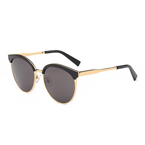 DONNA Trendy Polarized Oversized Round Sunglasses Semi Rimless Frame - Glasses Circle Shell Tortoise