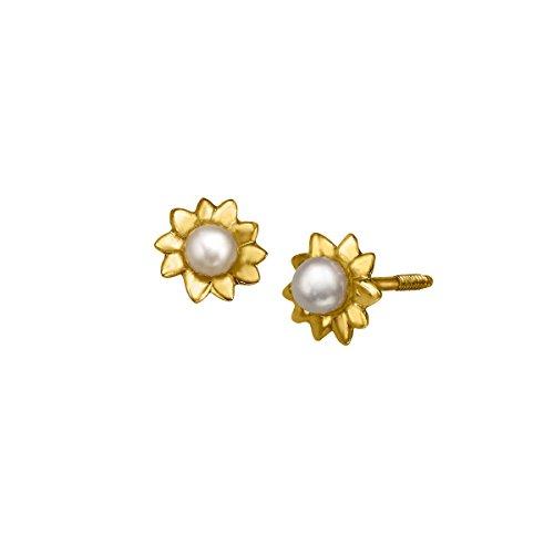 Girl's 2.5 mm Pearl Flower Stud Earrings in 14K Gold