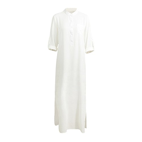 Sexy Panyan Women Casual Maxi Dress V Neck Long Sleeve Beach Dress Plus Size Split Boho Dresses White XL