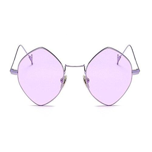 Mode Métal Cadre Lunettes Des Lunettes Femme soleil Cru Voyager Miroir Violet soleil de lunettes de Polygonal ou Homme Deylaying d7vzxfz