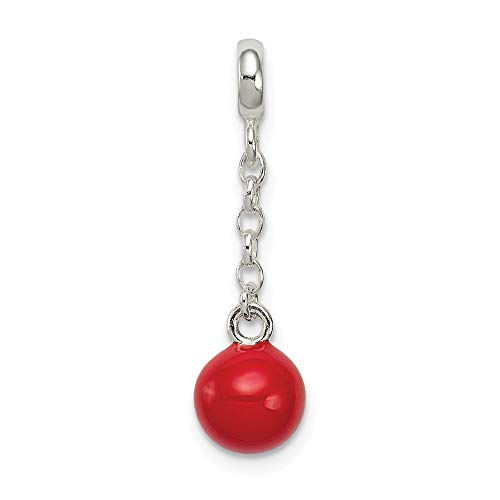 925 Sterling Silver Red Enameled Bead 1/2in Dangle Enhancer Necklace Pendant Charm Fine Jewelry Gifts For Women For Her