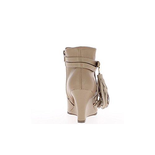 Bottines compensées taupe simili cuir talon de 8cm