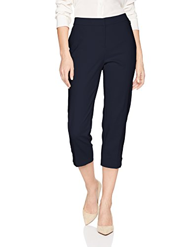 Rafaella Women's Lightweight Satin Twill Capri, Navy, 4
